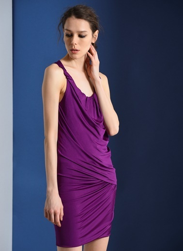 Zeynep Ökmen Önde Drape Detaylı Jarse Elbise Pembe